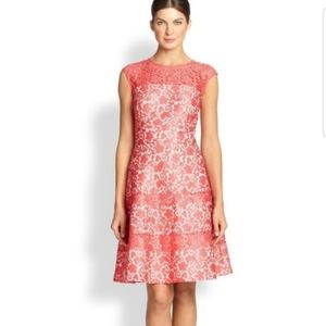 KAY UNGER coral lace dress
